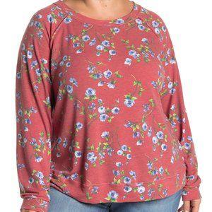 Caslon Floral Raglan Sleeve Cozy Sweatshirt Sz 3X